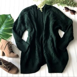 Hunter green open front oversized cardigan